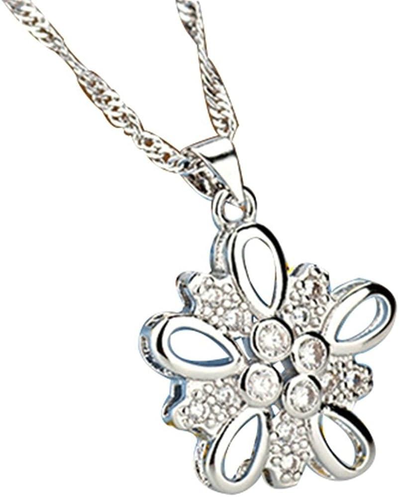 Onefeart Plata Esterlina Colgante para Mujeres Collar Blanco Circonita Forma De La Flor 450x26x21MM Blanco
