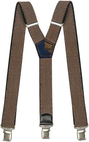 Msendro Men's Suspenders Y Shape Adjustable Elastic Heavy Duty Clip on Braces X-Large Dark Beige by Msendro
