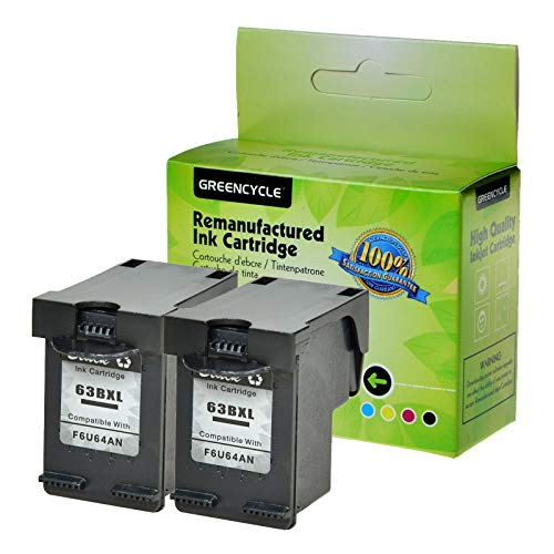 - GREENCYCLE Remanufactured 63XL F6U64A High Yield Ink Cartridge Compatible for Inkjet DeskJet 1110 1112 2130 3636 Envy 4512 4520 OfficeJet 3830 3831 4655 Series Printer (Black,2 Pack)