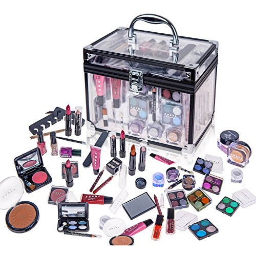 Kit Make Up (SHANY Carry All Trunk Professional Makeup Kit - Eyeshadow,Pedicure,manicure With Black Trim Clear Case)