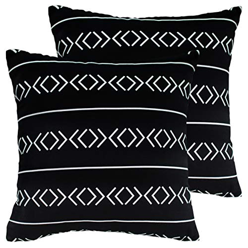 HOMFINER Decorative Throw Pillow Cases Cushion Covers for Bedroom, Living Room or Couch 100% Cotton Canvas Black and White Tribal Design 18 x 18 inch Set of 2