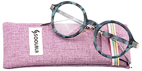 SOOLALA Womens Unique TR90 Round Circle Clear Lens Eyeglass Reading Glasses, Blue, - Lens Cheap Circle
