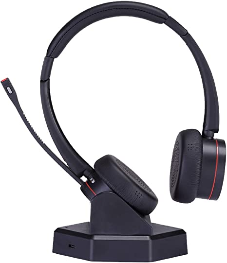 Amazon Com Wireless Telephone Headset With Microphone Noise Cancelling Business Headset Dual Ear Compatible With Computer Laptop Cell Phones For Conference Skype Calls Microsoft Teams Etc Electronics