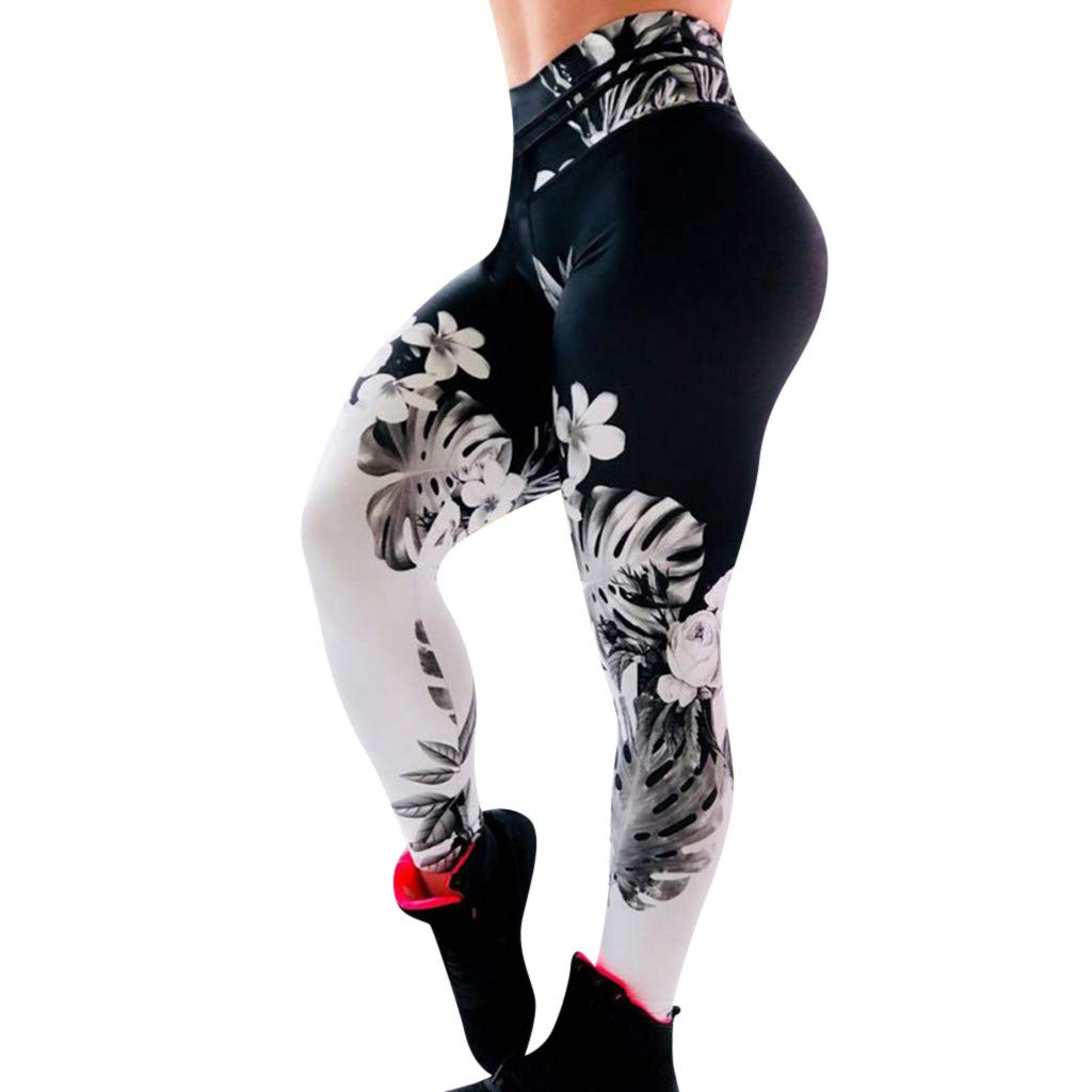 High Waist Yoga Pants, Women Floral Printed Soft Lightweight Leggings Workout Fitness Sports Yoga Pants (XL, Black)
