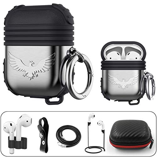 Silicone Maid LLC Compatible AirPods Case Metal Holder Portable Anti-Lost Strap Silicone Case Compatible Apple AirPod (Apple Earpods Best Price)