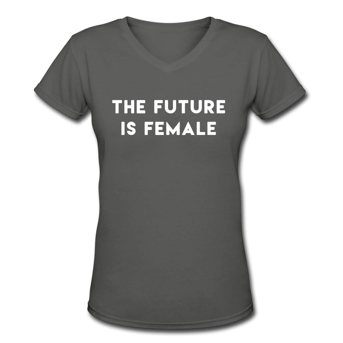 Women's T Shirt The Future is Female Tee Shirts Cotton T-Shirt Short-Sleeve V Neck Crop Top for Youth Girls Deep Heather M by BKashy