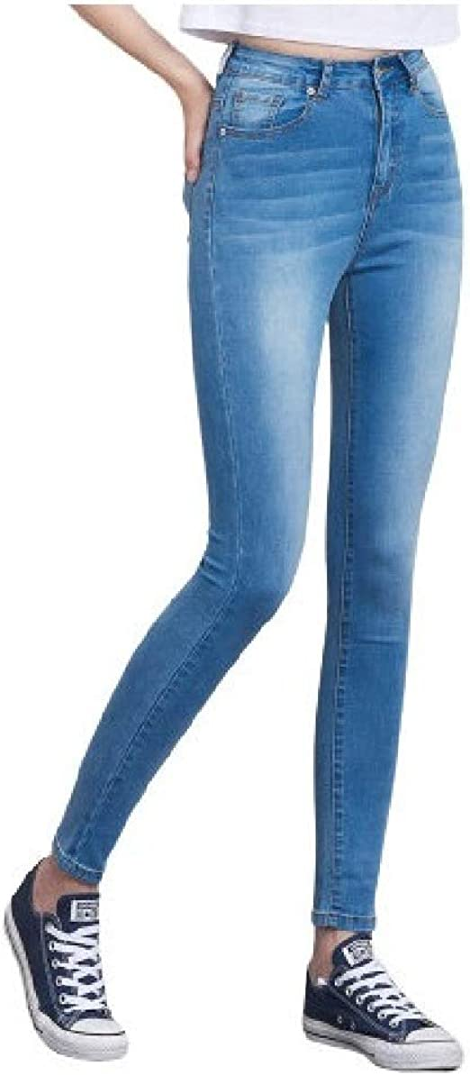 EnergyWD Women Oversize High Waist Ombre Wash Stretch Pocketed Slim-Fit Denim Jeans