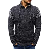 2018 Limsea Men's Long Sleeve Winter Splicing Casual Elastic Top Blouse Knitted Sweater(Black,L)
