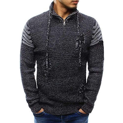 2018 Limsea Men's Long Sleeve Winter Splicing Casual Elastic Top Blouse Knitted Sweater(Black,L) by Limsea Men Blouses