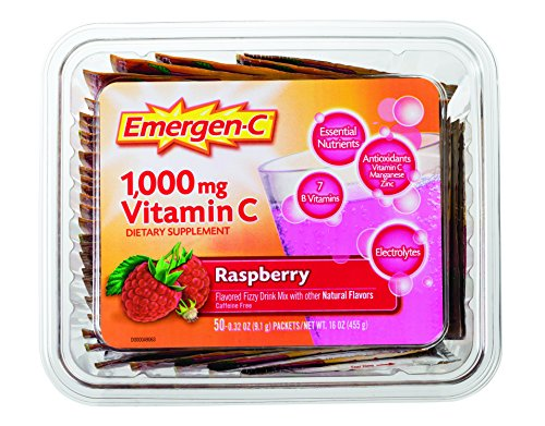 Emergen-C (50 Count, Raspberry Flavor) Dietary Supplement Fizzy Drink Mix Office Tub with 1000mg Vitamin C, 0.32 Ounce Packets, Caffeine (50 Mix Packets)