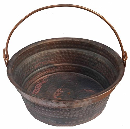 Egypt gift shops French Hand-Hammered Copper Cauldron Jar Pot Fire Place Log Bucket Bin Jardiniere Planter Center Piece Decor (Home Copper Accessories Next)