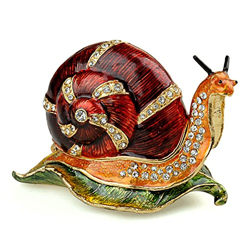 Trinket Box Metal Enameled Snails Figurine Collectable Jewelry Ring Holder Organizer