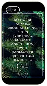 Do not be anxious about anything but in everything - Bible verse iPhone 5 / 5s black plastic case / Christian Verses