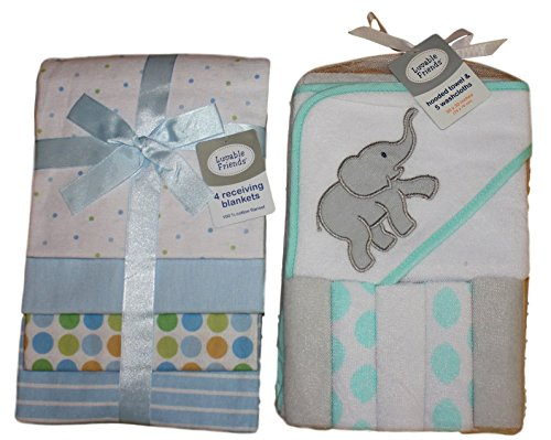 Luvable Friends - an Elephant Hooded Towel and 5 Washcloths Bundled with 4 Flannel Receiving Blankets - Makes for a Perfect Baby boy Shower ()