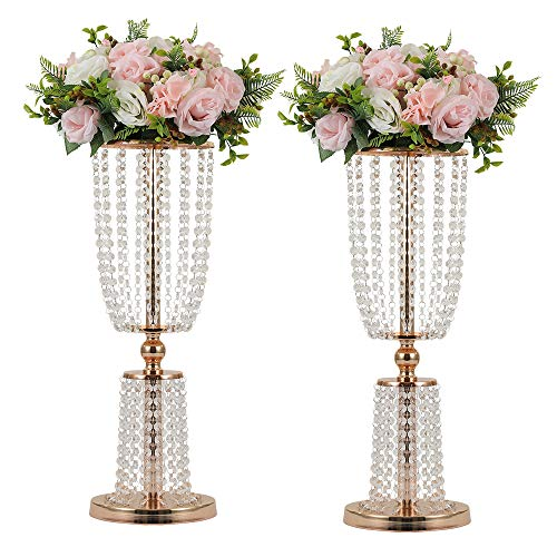 (LANLONG 2Pcs Acrylic Crystal Centerpiece Wedding Backdrop Flower vase Candleholder Table Stand Party Decoration Road Lead Frame Wedding decorationDecor Decorations Room Decoration (Gold, 23.75