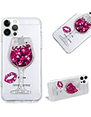 Cestor Glitter Stars Liquid Case for iPhone 11 Pro,Stylish 3D Bling Diamond Goblet Wine Glass with Sexy Red Lips Design Soft TPU Silicone Crystal Clear Flowing Protective Case,Pink