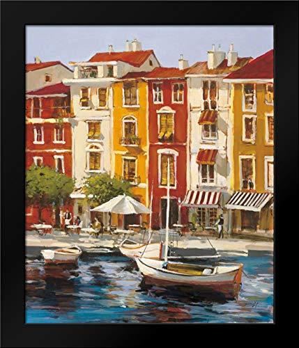 Mediterranean Waterfront I 28x34 Modern Black Wood Framed Art Print by Heighton, Brent (Brent Print Mediterranean)