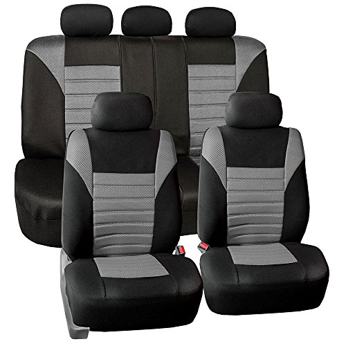 (FH Group FB068115 Premium 3D Air Mesh Seat Covers Full Set (Airbag & Split Ready), Gray/Color- Fit Most Car, Truck, SUV, or Van)