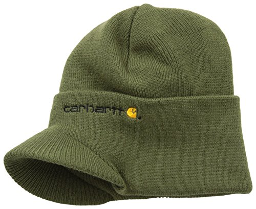 (Carhartt Men's Knit Hat With Visor,Army Green,One)