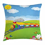 Lunarable Train Throw Pillow Cushion Cover, Happy Cartoon Steam Puffing Locomotive Nature Flowers Butterflies Over The Hills, Decorative Square Accent Pillow Case, 26 X 26 inches, Multicolor