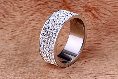 Gorgeous White 5 Rows Lines Crystal Wedding Band Ring ,8mm Width(8)