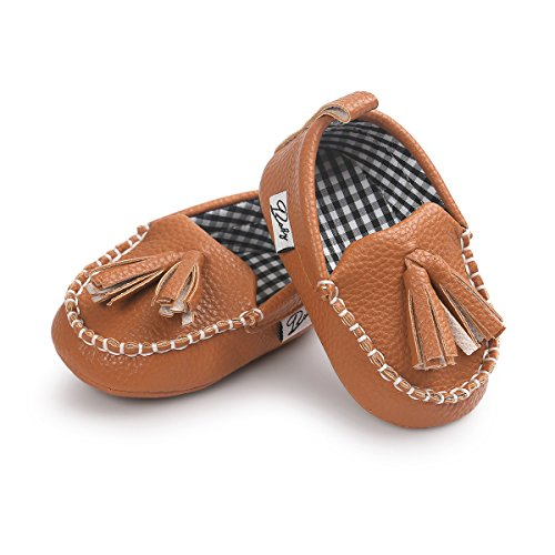 (E-FAK Newborn Baby Boys Shoes, Loafers Dress Flat Shoes Sneakers Crib Shoes (5.12 Inches(12-18 Months), A-Camel E106))