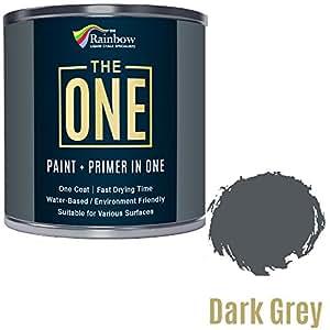 Bote de pintura monocapa The One, pintura multisuperficies para madera, metal, plástico, para interiores y exteriores, de color gris oscuro, mate, 250 ml