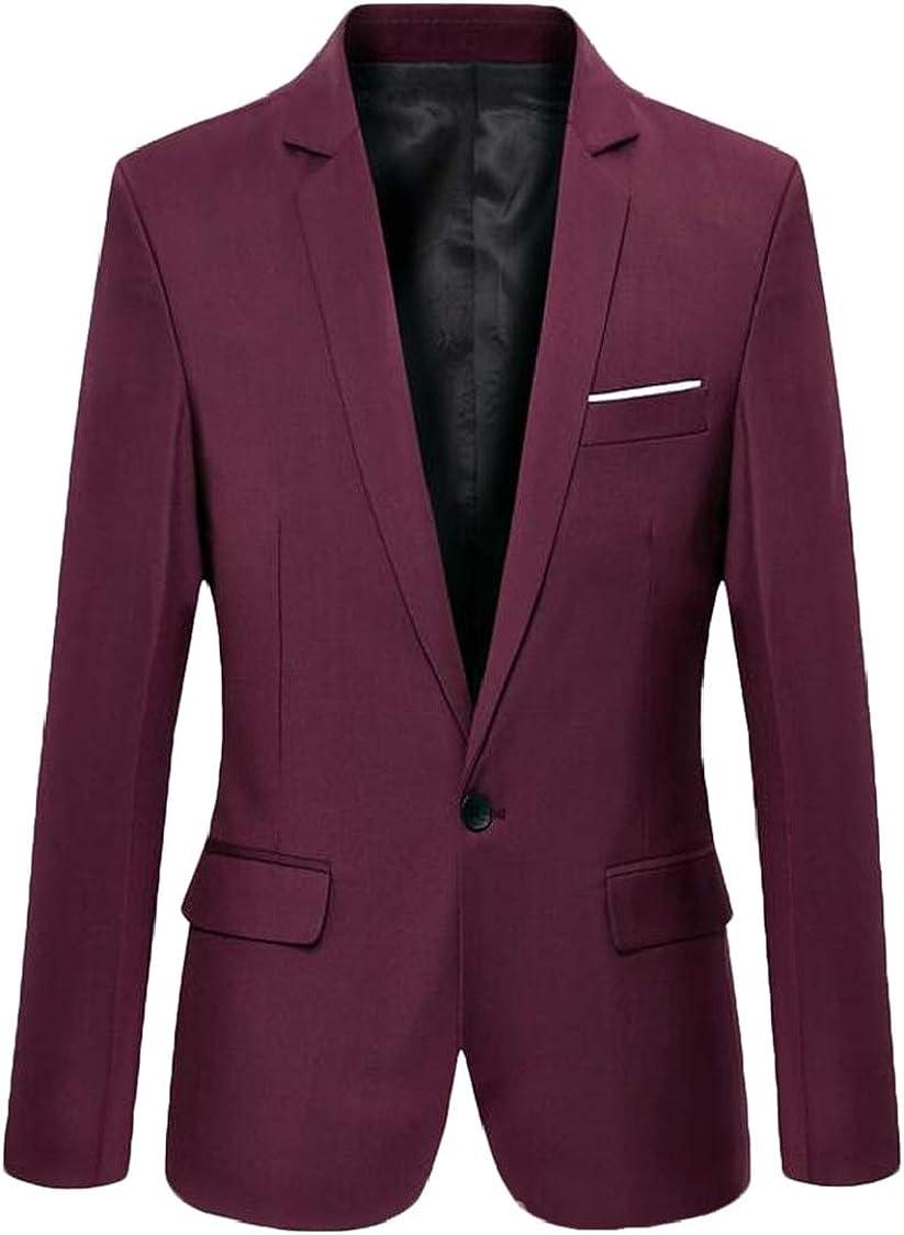 SELX Men One Button Lapel Slim Fit Casual Business Sport Coat Blazer Jacket