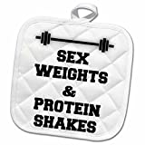 3dRose BrooklynMeme Funny Saying - Sex weights and protein shakes on white background - 8x8 Potholder (phl_221922_1)