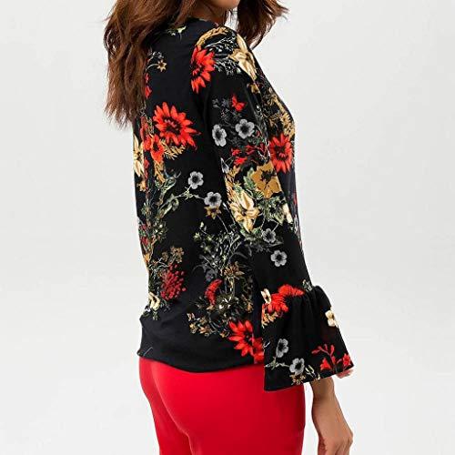 Femme Soie Orange en T Manche Shirt Imprim Courte Longues Trydoit De Mousseline Manches Floral Chemise wnPACC06q