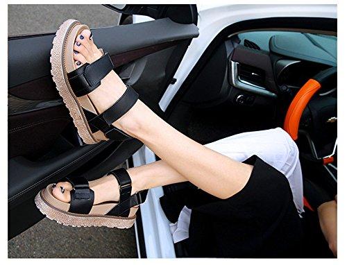 confortables forme étudiant femelle Sandales chaussures grandes vent chaussures ShangYi Velcro romaines plate blanc britannique wq8E17In
