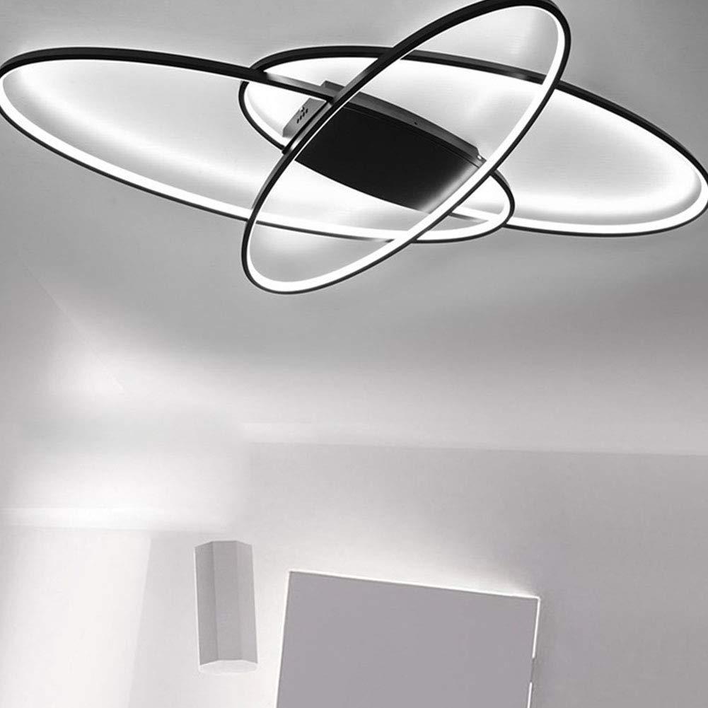 LED Deckenleuchte Oval Design Wohnzimmerlampe Dimmbar 3000K-6500K Helligkeit Einstellbar//Farbe Schlafzimmerlampe Fernbedienung Deckenlampe Acryl-Panel Pendelleuchte Esszimmer K/üche Lampen Schwarz