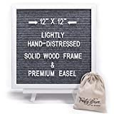 Felt Letter Message Board - Gray | 12x12 inch White Rustic Solid Wood Frame & Easel Stand | Changeable Wooden Letterboard Includes 356 White Letters, Numbers & Emojis | by TrustyWave