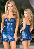 Sexy Blue Sequin Mini Dress Clubwear Set with Thong