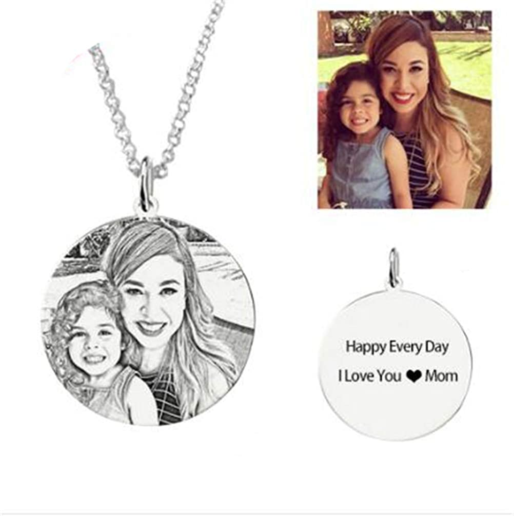 Super frist Engraved Name Necklace 925 Sliver Pendants Photo Gift for Women//Men//Family