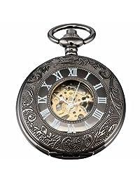 AMPM24 Vintage Hollow Skeleton Case Mechanical Pocket Watch WPK015
