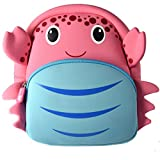 YISIBO Kids Backpack Cute Cartoon School Toddler Sidesick Bags Children Girls Backpacks (Crab)
