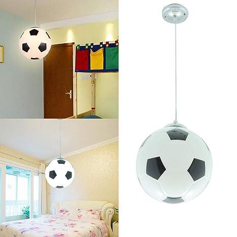 Lampara Colgante del Techo E27 Fútbol Iluminacion Interion Led Pantalla Luz de Fútbol para Habitacion del Niño Dormitorio,Color Negro