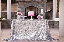 New Sale!~50''x72''silver Sequin Tablecloth, Wedding Table Cloth, Sparkle Sequin Linens, Glitz, Sequin Cake Tablecloth, Sequin Tablecloth (50''x72'')