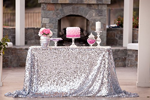 ShiDianYi New Sale!~50''x72''silver Sequin Tablecloth, Wedding Table Cloth, Sparkle Sequin Linens, Glitz, Sequin Cake Tablecloth, Sequin Tablecloth (Sparkle Tablecloth)