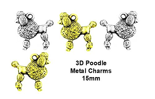 PlanetZia 6pcs 15mm Poodle Dog Charms for Jewelry Making - in 2 Colors TVT-1416-1 (Antique Silver)
