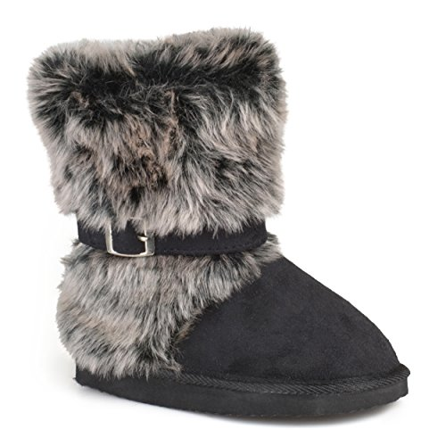 Journee Kids Girls Buckle-Strap Faux Fur Boots