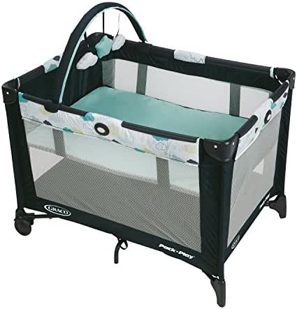 Graco Pack 'n Play On the Go Playard | Includes Full-Size Infant Bassinet, Push Button Compact Fold, Stratus