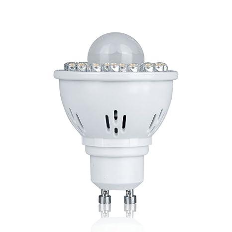 Pack de 1 GU10 2 W PIR sensor de movimiento foco LED bombillas luz blanca cálida