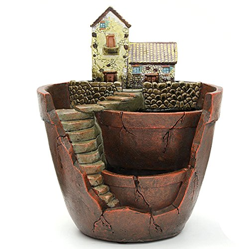 KINGSO Micro Landscape Ornament Plant Pot Planter Miniature Dollhouse for Fairy House Succulent Plant DIY Home Garden Decor (White ()