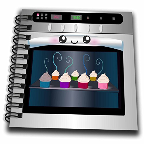 3dRose db_58309_3 Cute Kawaii Happy Smiling Oven Filled with Baking Cupcakes For Chefs Foodies & Cooking Fans Mini Notepad, 4 by 4
