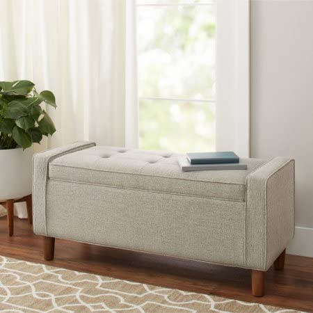 Better Homes and Gardens Flynn Mid Century Modern Upholstered Storage Bench – Gray, Ash