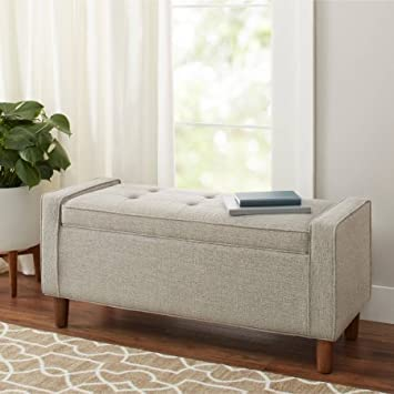 Genial Flynn Mid Century Modern Upholstered Storage Bench   Gray, Ash
