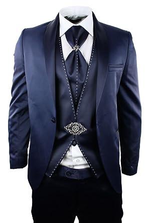 on sale 785b7 1a129 Herren Satin Blau marineblau Hochzeit Anzug Smoking slim fit ...