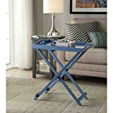 Tv Tray Tables with Removable Serving Tray Portable Table Top Folding Lightweight End Table Snack Table for Living Room Wood Furniture Includes Bonus Ebook Home Decorating on a Budget (Blue)